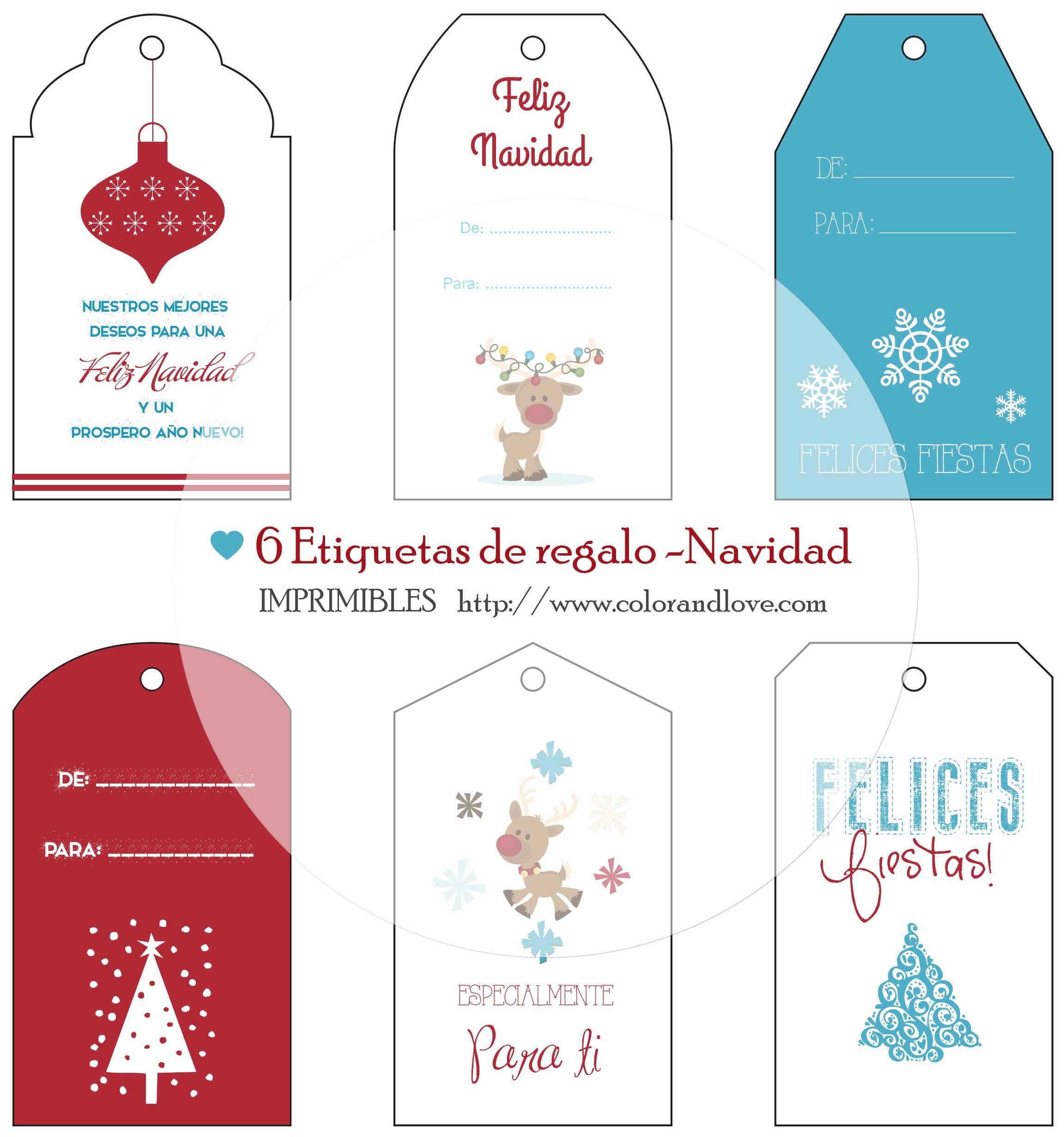 IMPRIMIBLES GRATIS – 6 Etiquetas de regalo para Navidad.