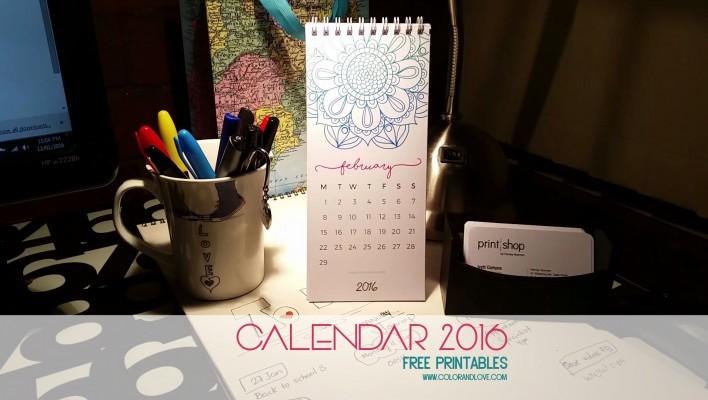 "FREE PRINTABLE – ""2016 Mandalas Calendar"""